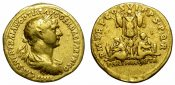 TRAJAN.GOLD AUREUS. DATED REVERSE w/ T...