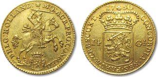 14 gulden / 14 guilder 1750 NETHERLANDS - ...