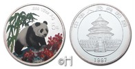 "China 5 Yuan 1997 pp. mit Farbapplikation ""Panda"" coloriert 81.14 £"