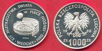 Polen 1000 Zlotych Fußball WM 1990 Italien, Fußball über Kolosseum PROBE