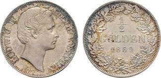 1/2 Gulden 1869 Bayern Ludwig II. 1864-188...