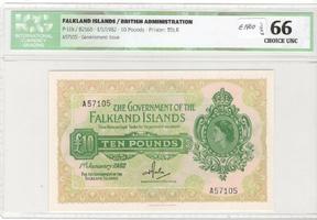 £10 1982 Falklands Islands  ICG 66 choice unc