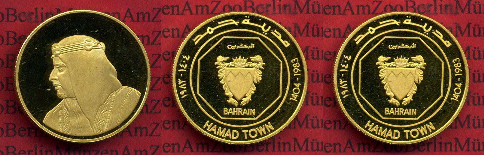 Goldmünze 50 Dinar Hamad Town 1983 Bahrain Bahrain 50 Dinar 1983 Gold Hamad Town Rare ! Isa Bin Salman proof handling marks