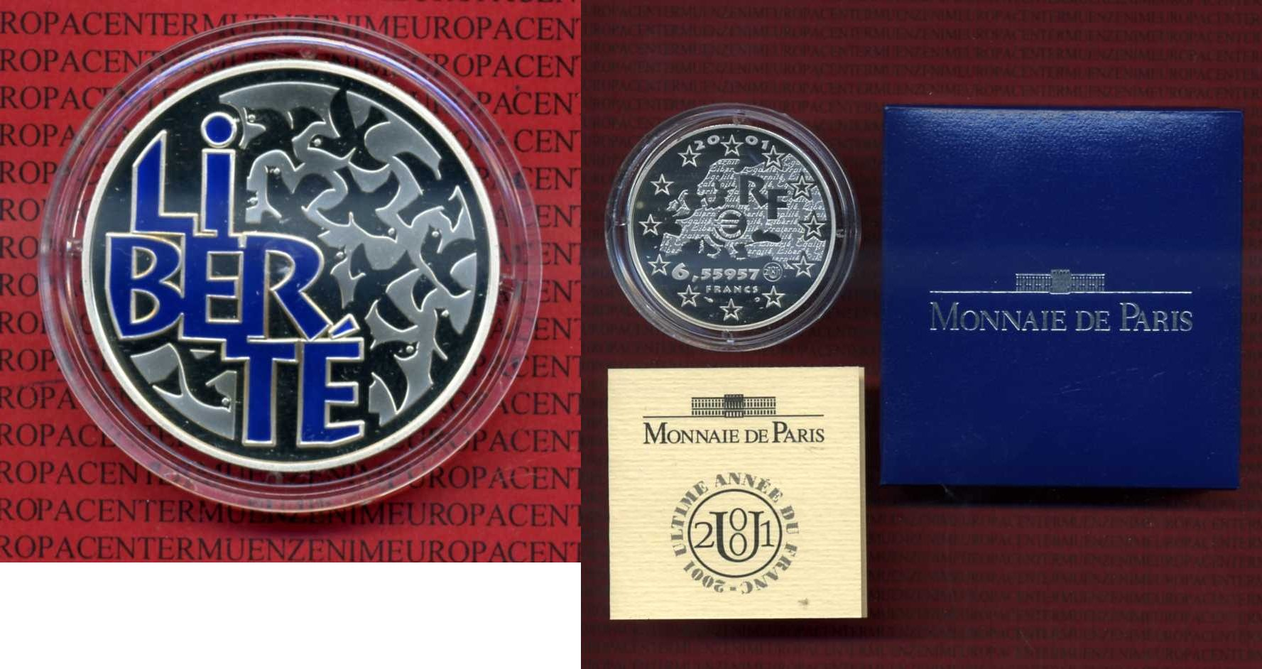 Frankreich Frankreich 6,5 Francs 2001- Liberte- Box Zertifikat Kapsel Farbmünze 1 Euro Silbermünze, 6,55957 Francs 2001 proof box coa colorated