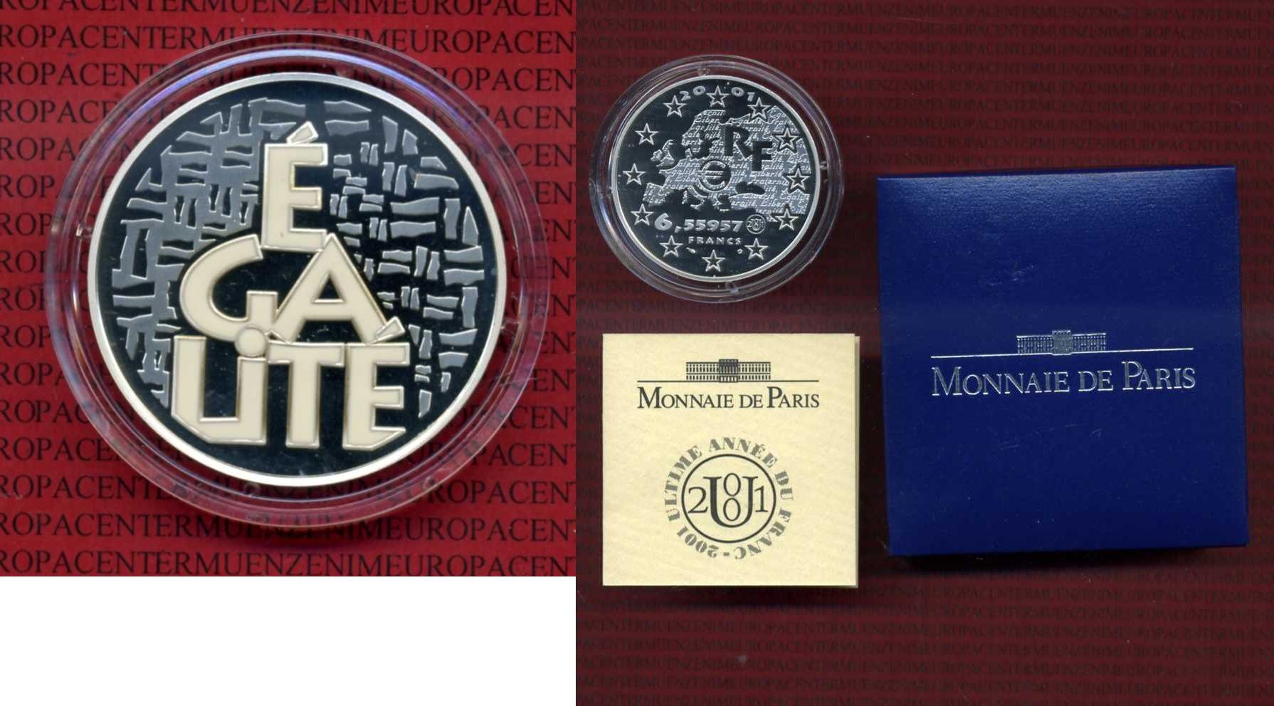 1 Euro Silbermünze, 6,55957 Francs 2001 Frankreich, France Frankreich 6,5 Francs 2001 Box Zertifikat Kapsel Égalite Farbmünze proof box, coa