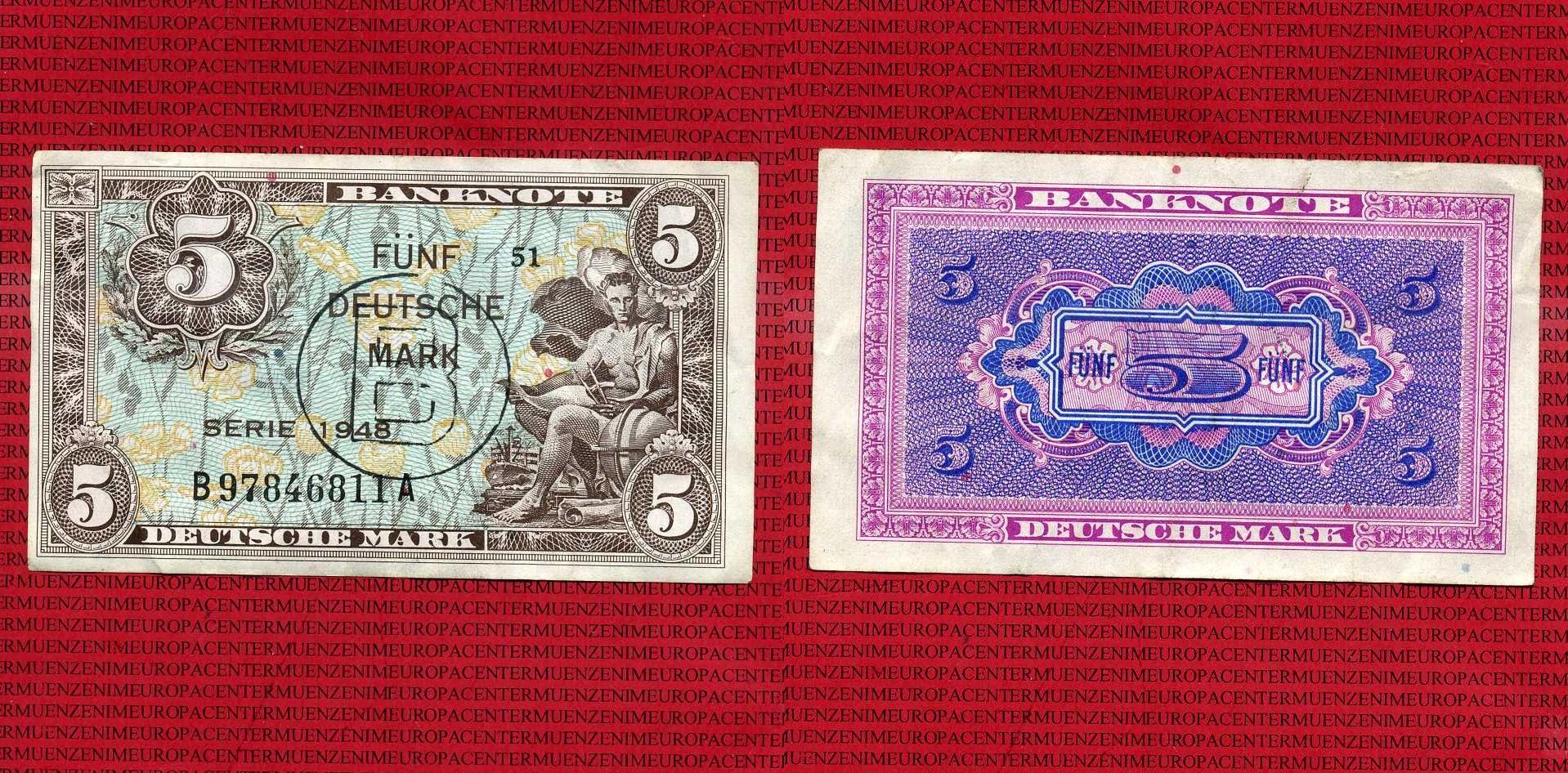 5 DM Kopfgeld mit B-Stempel 1948 Deutschland Deutschland 1948 Banknote 5 Deutsche Mark DM, mit B-Stempel für West-Berlin Gebraucht III