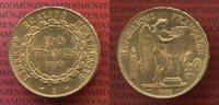 100 Francs Goldmünze 1900 Frankreich , Fra...