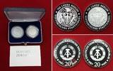 2 x 20 Mark Silbermünzen 1987 DDR, GDR Eas...