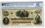 100 Dollars Banknote 1862 Confederate Stat...