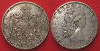 Rumänien  1883 ss ROMANIA 5 Lei 1883 B CAROL I as King silver VF # 86892 36.95 £