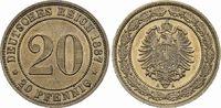 20 Pfennig 1887 A DEUTSCHLAND Nickel Fast Stempelglanz  47.18 £ 60,00 EUR