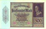 Reichsbanknote. 1922 DEUTSCHLAND. 500 Mark. II  25.47 £ 30,00 EUR  +  6.79 £ shipping