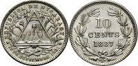 10 Centavos 1887 NICARAGUA  Vorzüglich  16.32 £ 20,00 EUR  +  6.53 £ shipping