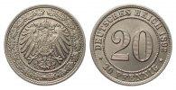 20 Pfennig 1892 G Kaiserreich  min. Randfehler, fast Stempelglanz  329.16 £ 395,00 EUR free shipping