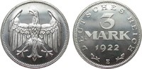 3 Mark ohne Umschrift 1922 E Weimarer Republik  polierte Platte  449.16 £ 575,00 EUR