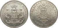 5 Mark Hamburg 1888 J Kaiserreich  wz. Randfehler, vorzüglich / Stempel... 2062.22 £ 2450,00 EUR free shipping