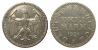 3 Mark Kursmünze 1924 J Weimarer Republik  wz. Kratzer, polierte Platte  329.16 £ 395,00 EUR free shipping