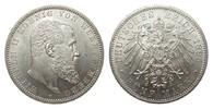 5 Mark Württemberg 1895 F Kaiserreich  Bildseite vz/St, Adlerseite f.St  500.82 £ 595,00 EUR free shipping