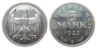 3 Mark ohne Umschrift 1922 E Weimarer Republik  wz. Kratzer, min. berüh... 404.03 £ 480,00 EUR free shipping
