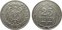 25 Pfennig 1909 J Kaiserreich  sehr schön / vorzüglich  1304.67 £ 1550,00 EUR free shipping