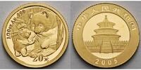 China 20 Yuan,<br>1,55g fein<br>14 mm Ø Panda-Bären, 1/20 oz, 999 Gold in Kapsel
