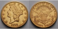 USA 20 $<br> 30,09g<br>fein<br>34 mm Liberty, San Francisco 1892 S Gold, (Coronet Head Double Eagle)
