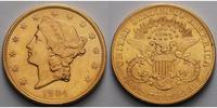 USA 20 $<br> 30,09g<br>fein<br>34 mm Liberty, ohne Münzzeichen, Philadelphia 1904 Gold, (Coronet Head Double Eagle)