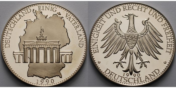 Deutschland 21,34g roh<br>40mm Ø 1990 <b>PP</b><br>berieben Medaille, Deutschland einig Vaterland, 1990 inkl. Kapsel & Etui