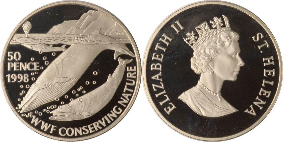 50 Pence 1998 Saint Helena Zwergwale Proof