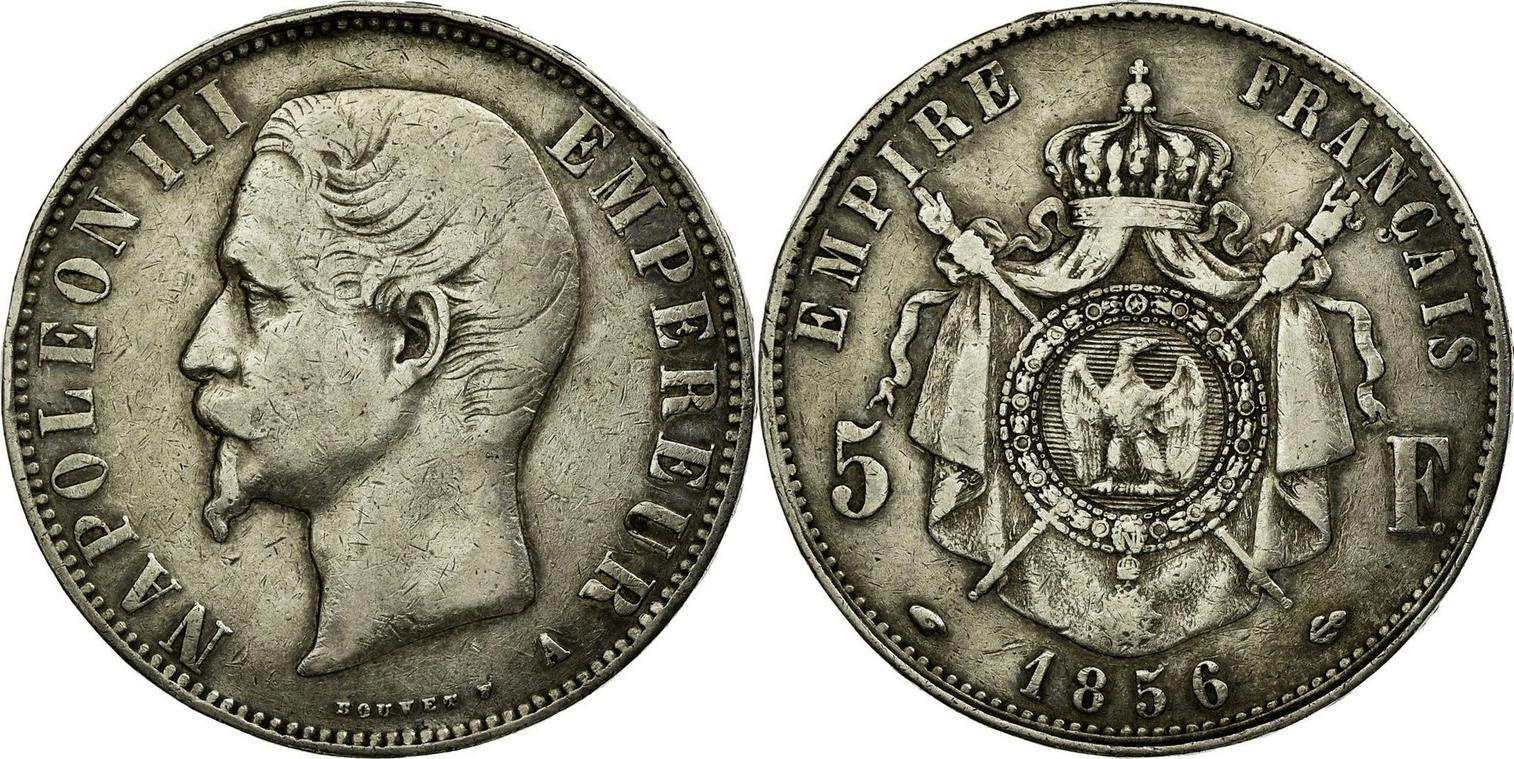 5 Francs 1856 A France Coin Napoleon Iii Paris Km 7821 Vf30 35