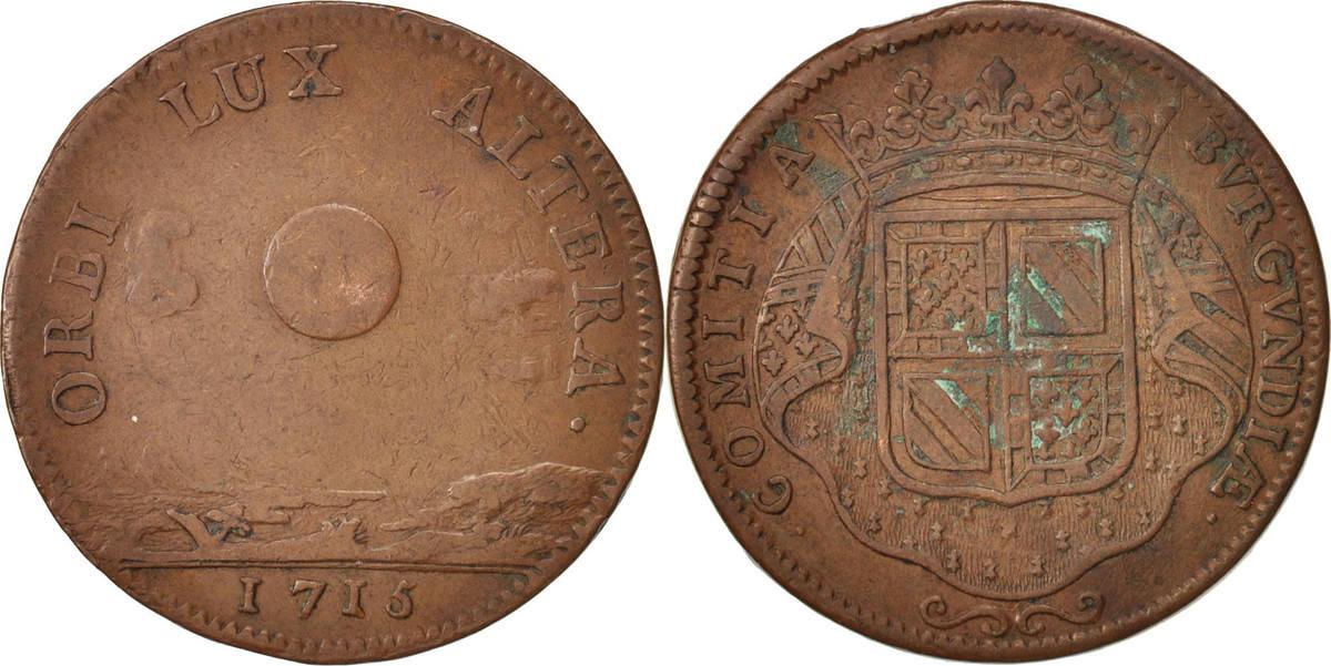 token 1715 france etats de bourgogne copper feuardent 9832 vf 30 35 ma shops. Black Bedroom Furniture Sets. Home Design Ideas