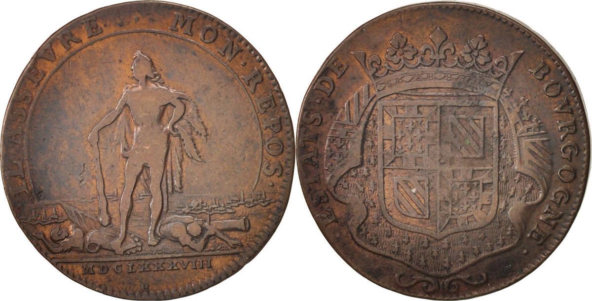 token 1688 france etats de bourgogne copper feuardent 9821 vf 20 25 ma shops. Black Bedroom Furniture Sets. Home Design Ideas
