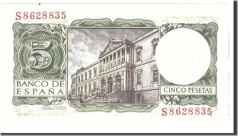 5 Pesetas 1954 Spain Banknote, 1954-07-22, KM:146a UNC(65-70)