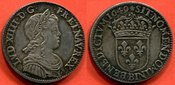 1649 B LOUIS XIV LOUIS XIV 1643-1715 QUART D ECU A LA MECHE LONGUE 1649 B ATELIER ROUEN POIDS 6.86g PATINE DE MEDAILLIER EXEMPLAIRE COLLE vz