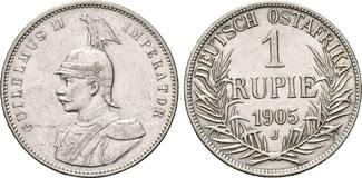 Deutsch-Ostafrika, 1 Rupie 1905 J, ss-vz Kaiserlic