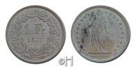 Franken 1877 BR Schweiz Helvetia stgl, Rev. kl. Flecken  447.68 £ 500,00 EUR  +  8.86 £ shipping