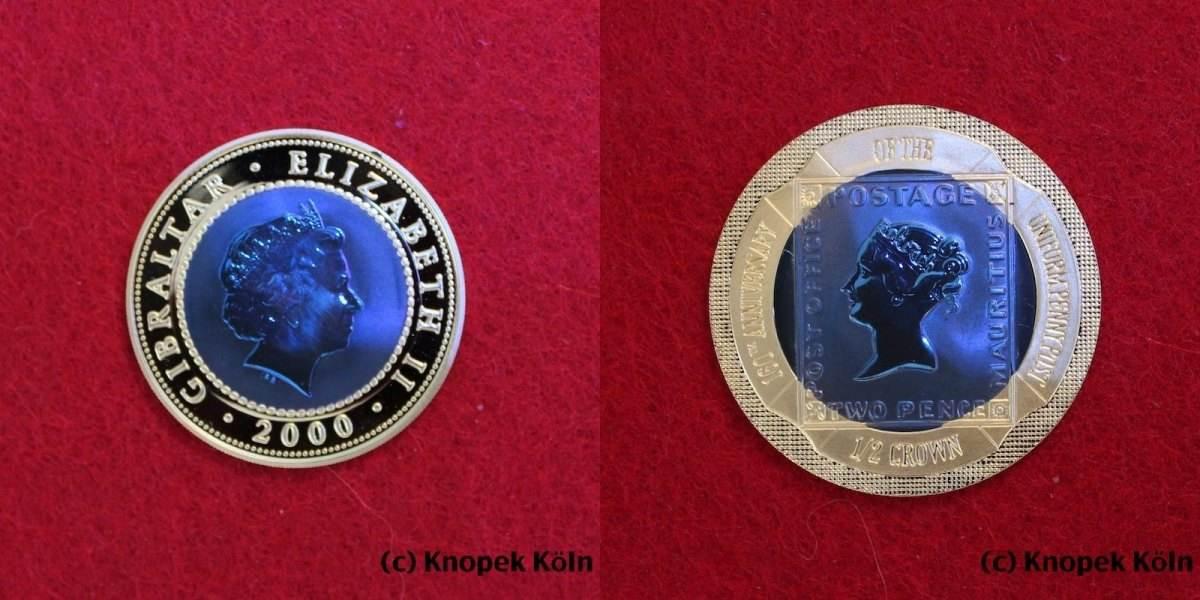 1/2 Crown Gold 2000 Gibraltar 0,5 Crown 160 J  Uniform Penny Post / Blaue  Mauritius : Titan im Goldring SELTEN CH UNC