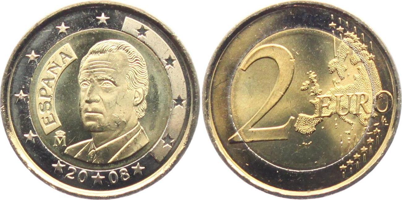 Spanien 2 Euro 2008 König Juan Carlos (1975 - 2014) UNC ...