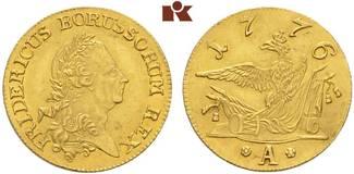 Friedrichs d or 1776 A, Berlin. BRANDENBURG-PREUSSEN Friedrich II., der Große, 1740-1786. Leicht gewellt, vorzüglich-Stempelglanz