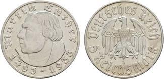 5 Reichsmark 1933 J Winz. Randfehler, sehr schön