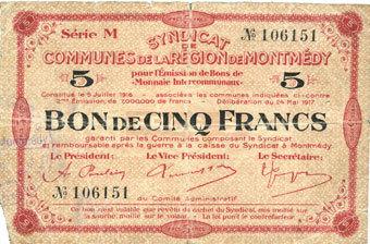 2451917 French Emergency Notes Montmédy 55 Syndicat De Communes De La Région De Montmédy Billet 5 Francs 2451917 Série M Manque Un Coin Et
