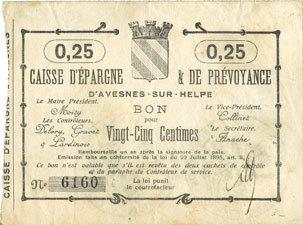 French Emergency Notes Avesnes 59 Caisse Depargne Et Prévoyance Billet 25 Cmes N D Vf
