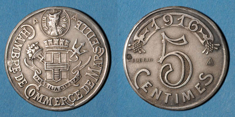 1916 french emergency coins marseille 13 chambre de for Chambre de commerce de marseille archives