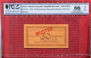 50 Pfennig 1945 Österreich Austria Russ Besetzung 50 Reichspfennig Russische Besetzung 1945 Stempel und Perforation Muster PCGS GEM Unc 66 OPQ
