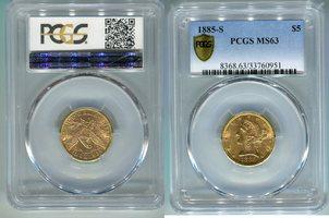 5 Dollar 1885 S USA Liberty Frauenkopf 5 Dollar Half Eagle USA PCGS zertifziert MS63