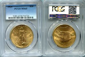 20 Dollars St. Gaudens Double Eagle 1925 USA St. Gaudens Typ Double Eagle PCGS zertifiziert MS 65