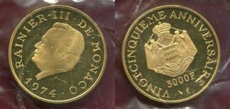 Monaco 3000 Francs Gold 1974 NGC PF 64 Ultra Cameo