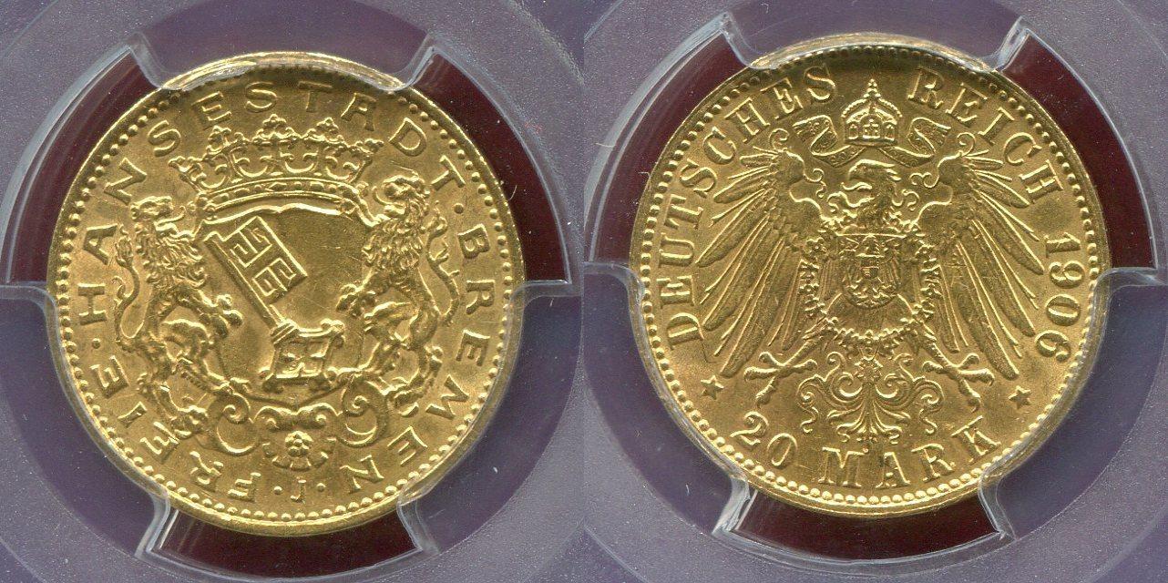 20 Mark 1906 Bremen Stadtwappen Free City Freie Hansestadt USA PCGS MS 63