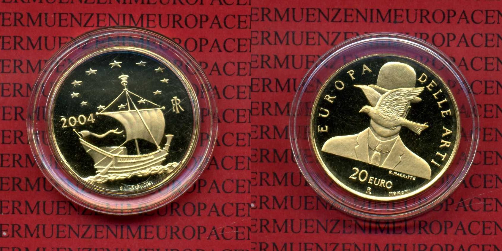 20 Euro Gold 2004 Italien, Italy Italien 20 Euro Gold 2004, Europa der Künste, Magritte proof with capsule *