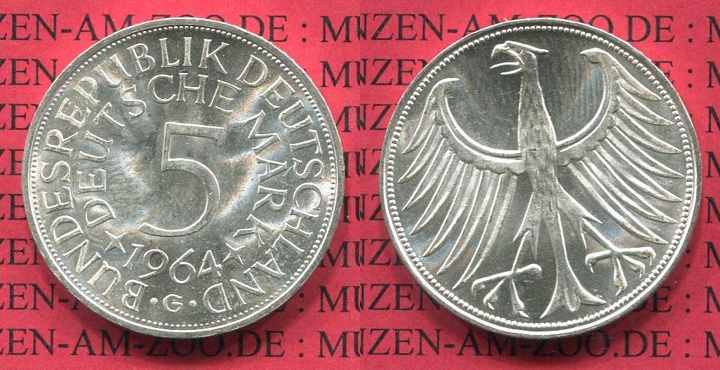 5 DM Silberadler 1964 G Bundesrepublik Deutschland Bundesrepublik Deutschland 5 DM Silberadler, Kursmünze 1964 G fast CH UNC*.